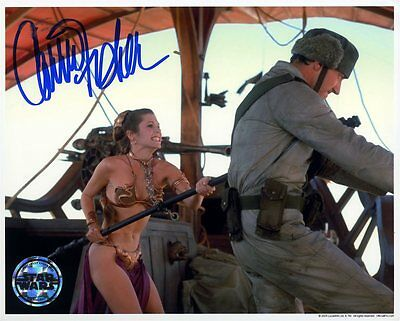 Carrie Fisher GOLD BIKINI Autograph PP Signed Princess Leia Star Wars Hologram