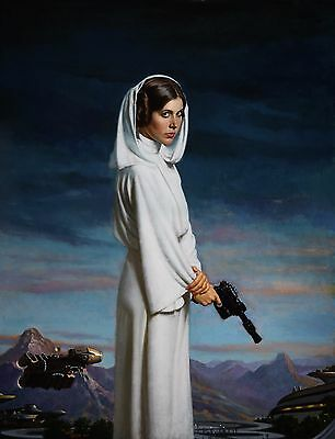 Princess Leia STAR WARS Carrie Fisher Art Poster Print Hologramed & Numbered