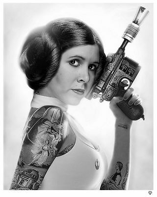Carrie Fisher Blaster Gun STAR WARS Princess Leia Art Print Hologram & Numbered