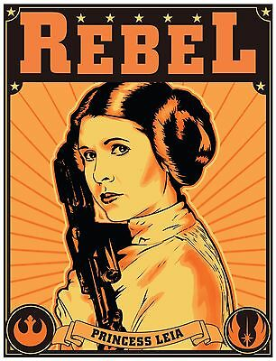 Princess Leia Retro Poster Art Star Wars Rebel Alliance Carrie Fisher Print A4