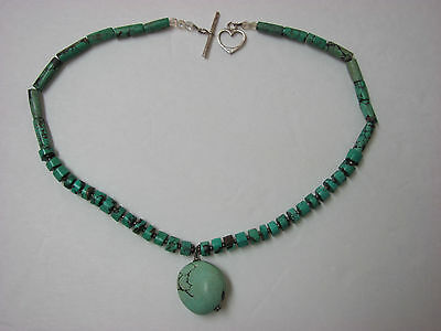 Vintage Turquoise Necklace with Sterling silver heart-shape Clasp