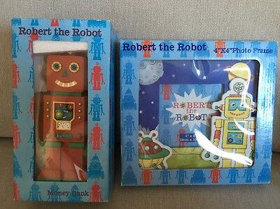Robert The Robot Photo Frame & Money Box Bank Children's Bedroom *new* Boys Girl