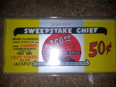 JENNINGS REPO PLASTIC GLASS SWEEPSTAKE CHIEF  50c TOP MARQUEE REPO