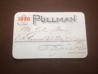 1890 Pullman Train Car Ticket Nebraska