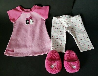 American Girl Pink Hearts PJs Night gown Bottoms Slippers free