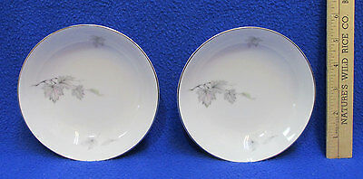 Sone China Berry Bowls Set 2 Silver Maple Leaf on White Silver Trim