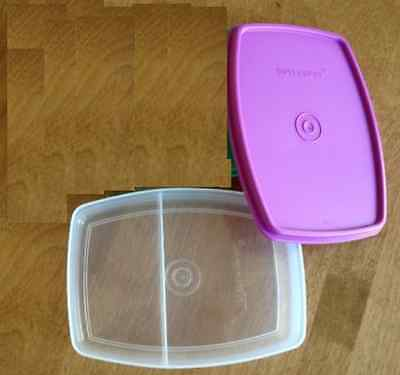 Tupperware Packables Divided Slim Lunch Container Mulberry Purple Seal New