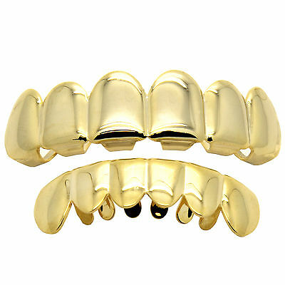 18K Gold Plated Hip Hop Teeth Grillz Top & Bottom Grill Set Grills High Quality1