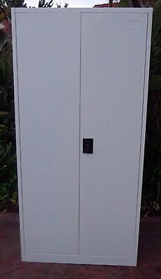 NEW**Lockable White Metal Storage Cabinet, Ideal for Office and Workshop Storage