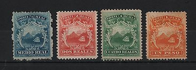 Costa Rica 1863 Coat Of Arms First Emission Set Of 4 Shield Ship Mountain Sc#1-4