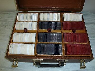 Vintage Wood 3 Tray Poker Chip Holder w/Chips Carrying Case With Bakelite VGC