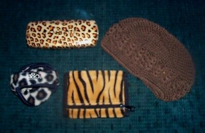 Brown Knitted Hat -Leopard Print Earmuffs & Hard Glasses Case -Tiger Tri-Fold