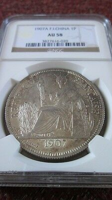 French Indochina 1 Piastre 1907A NGC AU 58