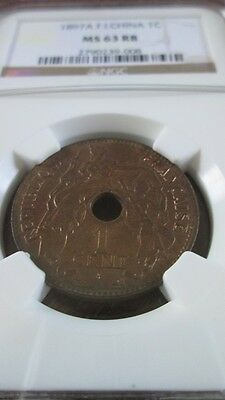 French Indochina 1 Cent 1897A NGC MS 63 RB