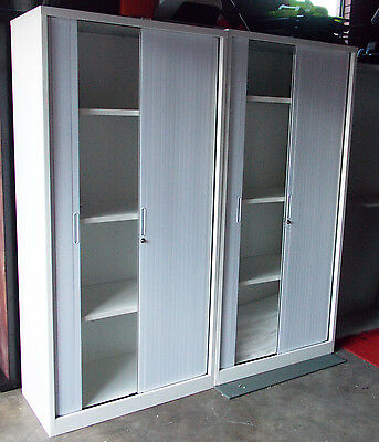 NEW***Two Lockable Roller Door Cabinets, Ideal for Office, Workshops or Garages