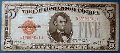 ~  1928 A $5 United States Note ~ D12005641A ~ Large Red Seal ~ F-1526