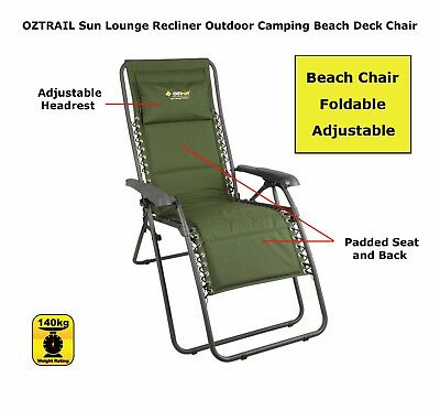 Oztrail Sun Lounge Recliner Chair with Adjustable Headrest - Green
