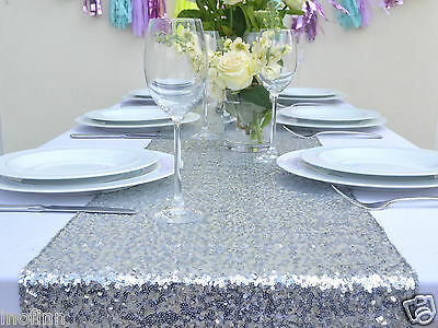 """New Silver Select Sequin Table Runner 12""""x72"""" Sparkly For Wedding Party Decor"""