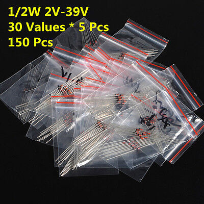 150Pcs 30 Values 1/2W 0.5W 2V-39V Zener Diode Assorted Kit Assortment Set