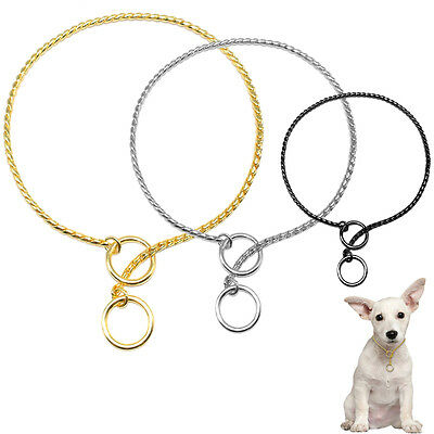 5pcs Chrome Chain Dog Show Collars Dog Choke Training Necklace Gold Silver Black