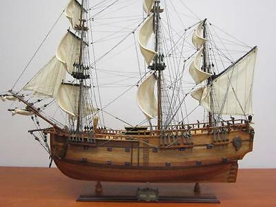 "HMS ENDEAVOUR 36"" British wood model ship- large scale sail tall  boat  NEW"