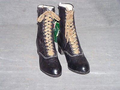 Victorian ladies/young woman's black high top shoes-Never worn