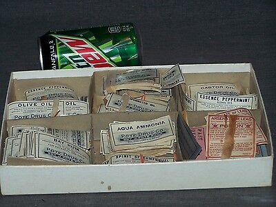 Large grouping (200-300) of apothecary drug labels from J.Pote & Owl drug stores