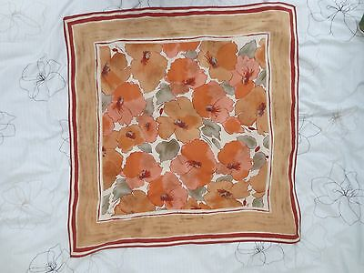 Beautiful Vera vintage pure silk muted floral print scarf