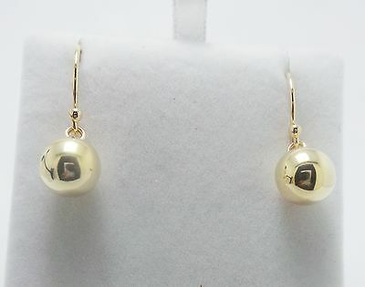 9ct YELLOW GOLD EURO BALL STYLE HOOK EARRINGS