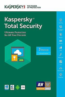 Kaspersky Total Security 2017 3 Devices  1 Year, Sealed Retail Box NEW!!