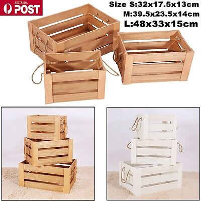 3 Set Wood Nested Vintage Shabby Rustic Crates/Storage Box 2 Colors to choose