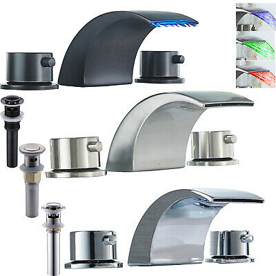 "Widespread 8"" Bathroom Basin Faucet LED Waterfall Tub Sink Mixer Tap Deck Mount"