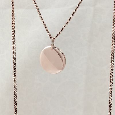 Solid 9ct Rose / Pink Gold 13mm Disc Pendant  Polished Finish Engravable