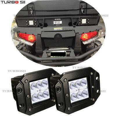 2x LED Flush Mount Light Pods Spotlights Square Jeep Atv Boat Suv Truck 4WD 12V
