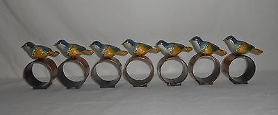 Set of 7 Metal with Copper Napkin Rings with Jeweled Enamel / Cloisonne Birds