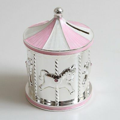 New Silver Plated Pink Carousel Money Box Christening Gift