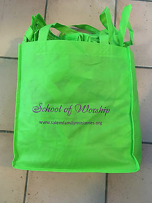"""LOT OF 30 TOTES GREEN PROMOTIONAL 13""""x13"""""""
