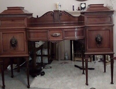 Antique Chiffonier Sideboard Smee & Cobay Of London Lion Heads Bow Front Draw