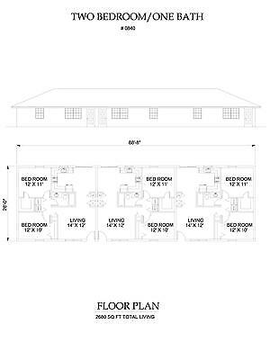 Two bedroom One bath triplex Apartment 840 sq ft per unit plan