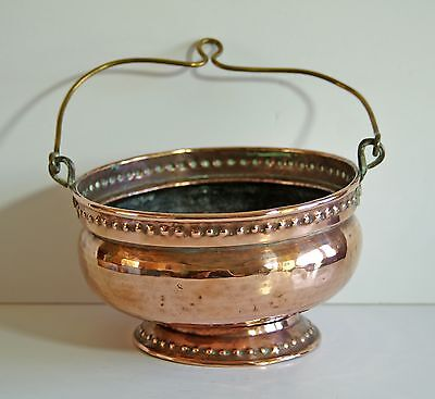 Vintage arts & crafts copper & brass planter / pot pourri bowl to stand or hang