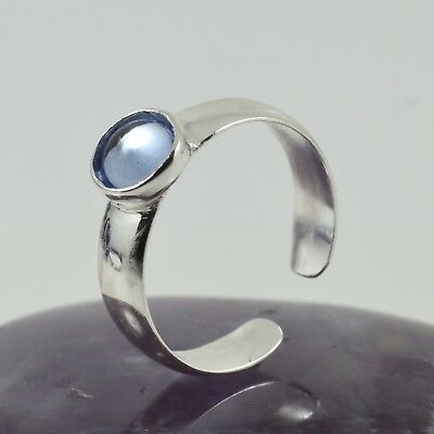 Ladies Fashion Toe Ring Sterling Silver Band Light Sapphire Cabochon Free size