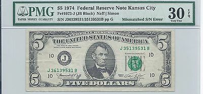 1974 $5 Mismatched Serial Number S/N 9531B, RARE ERROR, PMG 30EPQ Very Fine