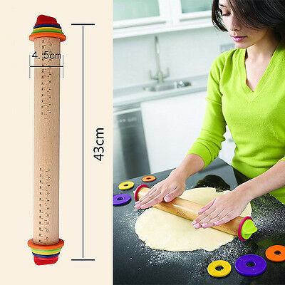 Adjustable Rolling Pin Removable Rings Beech Wood For Baking Dough Pizza Cookies