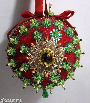 LARGE Vintage Hand Beaded CHRISTMAS Ornament RED Gold GREEN 5.25""