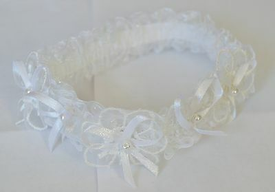 NEW Fancy flower white lace with white ribbon and pearl bow wedding bride garter