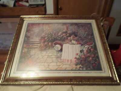 Large Home Interiors Picture Flower Garden Patio Mib