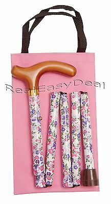 LADIES Adjustable Fashion Folding WALKING STICK By Classic Canes White Floral