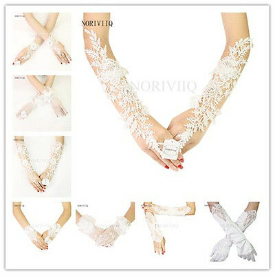 Women Bridal Fingerless Long Gloves White Lace Bride Glove Party Costume By pair