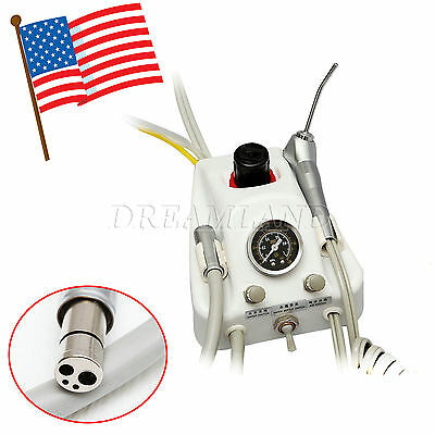 Portable Dental Air Turbine Unit 4 Hole W/ Air Water Syring bottle Pedal NEW uW$