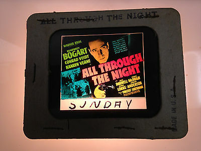 1941 Bogart All Through The Night  Glass Movie Coming Attraction Slide